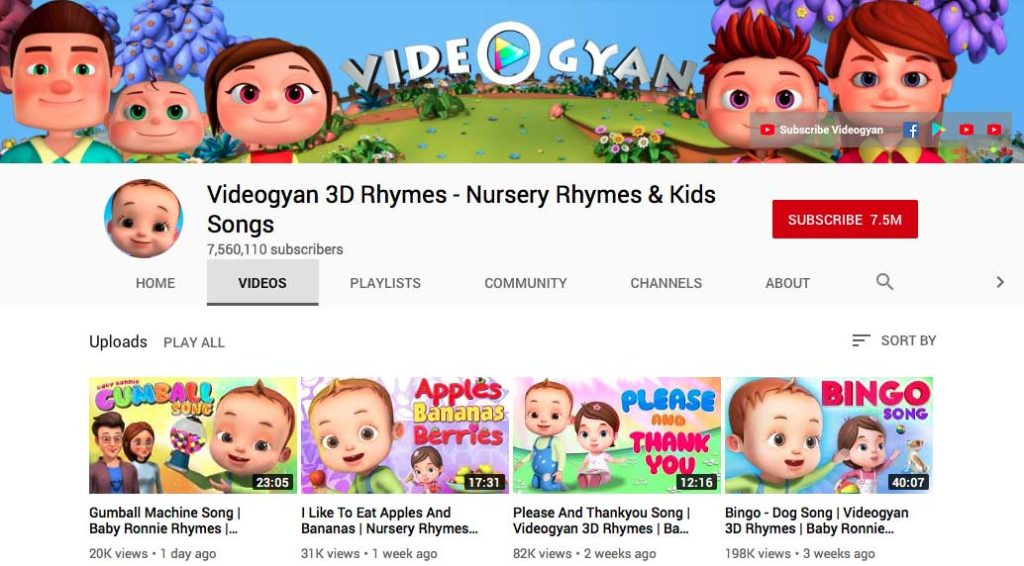 screenshot of videogyan youtube channel